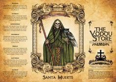 14-Day Candle Label - Santa Muerte (Green)