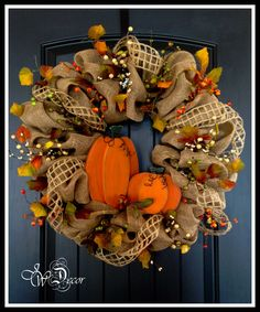 Fall Burlap Wreath Large  Autumn  Wood Pumpkins  Burlap by JWDecor, $129.00