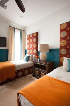 Laura U Interior Design | www.laurau.com Southampton Moroccan Interior Design #kidsroom #moroccan #twins #bedroom #whimsical #headboard  #colorful #fun #playful #interior #interiordesign