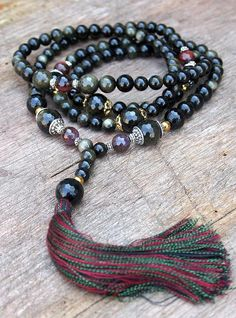 Golden Rainbow Obsidian Mala Necklace - Made by look4treasures