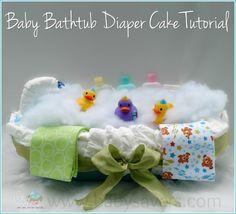 baby bathtub diaper cake