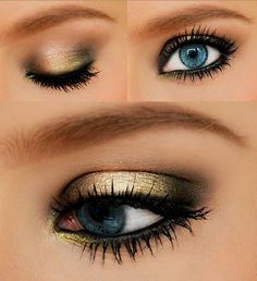 blue eyes with gold make up