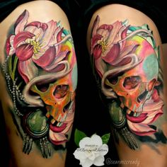 Lotus Flower/Skull Tattoo done at Botanical Tattoos. #inked #tattoo #botanical #colorful #lotus #skull #skulls #Idea #color #flower