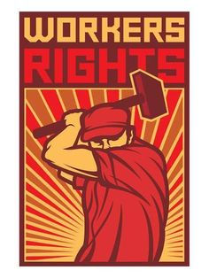 Buy Workers Rights Poster Retro Illustration - Man Holding a Hammer by TribaliumENV on GraphicRiver. Workers Rights Poster Retro Illustration – Man Holding a Hammer Protest Posters, Political Posters, Political Art, Protest Kunst, Protest Art, Propaganda Art, Communist Propaganda, Workers Rights, Workers Day