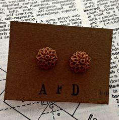 milk chocolate brown flower post earrings  by annefranklindesigns, $6.00