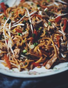 Chow mein with chicken - the coup de grace Chow Mein Au Poulet, Chinese Noodle Dishes, Chicken Chow Mein, Chop Suey, Asian Recipes, Ethnic Recipes, Easy Family Dinners, Sauteed Vegetables, Chinese Cabbage