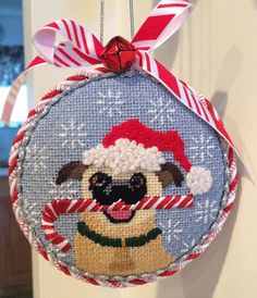 pug needlepoint ornament from Kirk  & Bradley