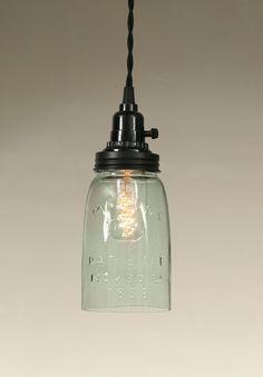 $42 Quart Open Bottom Mason Jar Pendant Lamp