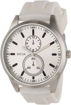 Breda Men'S 8153-White Connor Large Bold Dial Silicone Watch