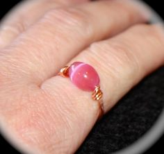 Pink Tigers Eye Copper Ring or Solid Sterling Silver Ring, Handmade Ring, Gemstone Ring, Toe Ring, Midi Ring, Woodland by BirchBarkDesign on Etsy