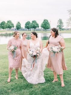 bridesmaids in pastel pink gowns walk with bride before micro-wedding with pastel color palette. Pastel Colour Palette, Bridesmaid Dresses, Wedding Dresses, Bridesmaids, Pink Gowns, Beautiful Couple, Pastel Pink, Style Me, Dream Wedding