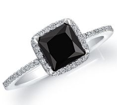 2.25Ct Black Princess solitaire 925 sterling silver engagement ring