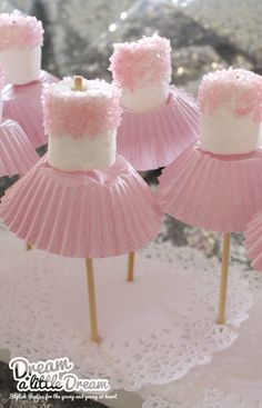 Pink sprinkle marshmallows, toothpicks, pink cupcake wrapper to make cute snacks for a princess party!!!