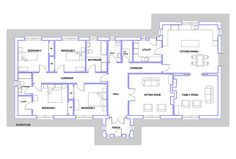 House Plans, No. Blueprint Homeplans designs are prepared by a professionally qualified Architect. All plans, elevations and sections are fully detailed for a Planning Application and construction stage. Bungalow Exterior, Bungalow House Design, Planning Applications, Home Office Layouts, Architecture Plan, House Plans, House Ideas, Floor Plans, How To Plan