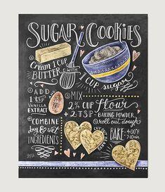 Receta de galletas de azúcar imprimir - arte de la pared de la hornada - arte…