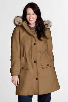Women's Plus Size Faux Fur Hood Wool Parka from Lands' End $99
