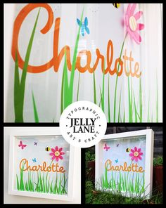 Children's Name in a 23cm x 23cm Box frame with by JellyLaneinc, £25.00
