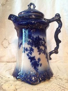 Antique Flow Blue LaBelle China Wheeling Pottery Chocolate Coffee Pot 1893-1910