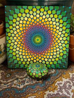 SET~Dot Mandala Painting and Stone, 6x6 Canvas Board Painting, Mandala Stone, Original Art by Kaila Lance, Sacred Geometry, Dotillism by KailasCanvas on Etsy