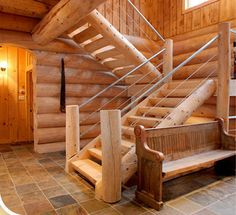 Nice and clean - half log staircase construction