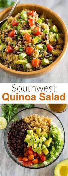 Southwest Quinoa Salad is an easy quinoa salad recipe made with black beans, avocado, cherry tomatoes, cilantro and a simple olive oil based dressing. quinoasalad avocado healthy vegan recipe easy quinoa avocado summer sidedish bbq via 389772542749830855 Quinoa Salad Recipes Easy, Mexican Quinoa Salad, Southwest Quinoa Salad, Healthy Salads, Healthy Nutrition, Vegetarian Recipes, Cooking Recipes, Mediterranean Quinoa Salad, Vegan Recipes