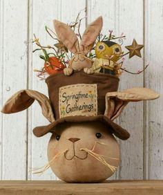 "NEW!! Primitive Folk Art Country SPRINGTIME GATHERINGS Bunny Easter Doll 15"" #Country #AudreysYourHeartsDelight"