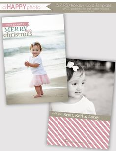 Merry Little, Holiday Photo Card Template, Photographers, PSD, WHCC, 5x7 flat and folded, christmas photo card. $7.00, via Etsy.
