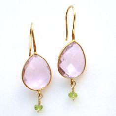 pale pink quartz drops with peridot rondelles by KKSparkles