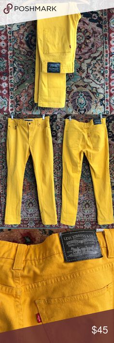 """Levi's Jeans Men's The original 510! Super skinny and a bold yellow. In great shape. 5 pocket styling and zip fly. Tag reads 36x32. 16.75"""" waist, 11"""" rise and 33"""" inseam Levi's Jeans Skinny"""
