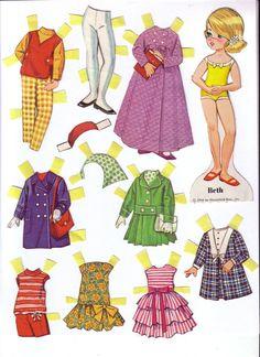 Muñeca recortable y sus vestidos (Beth)