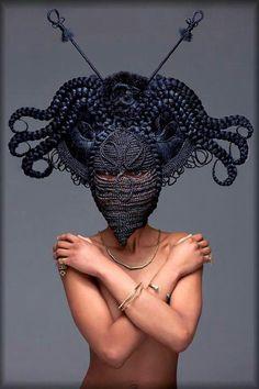 Topless Medusa w/ Black Braids. Ankh octopus. Gold & Navel.