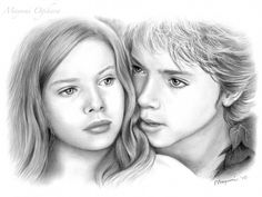 Drawing of Peter Pan and Wendy Darling (Jeremy Sumpter and Rachel Hurd-Wood)