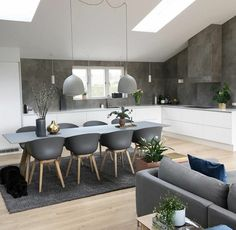 Interior Living Room Design Trends for 2019 - Interior Design Living Room Kitchen, Kitchen Interior, Interior Design Living Room, Interior Decorating, Decorating Tips, Gray Interior, Küchen Design, House Design, Dining Room Design