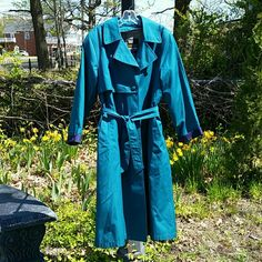 London Fog Trench Absolutely gorgeous teal/ turquoise London Fog Trench Coat. Navy blue trim at cuffs. Removable zippered warmer/ liner. No flaws. Love this piece! Final markdown  This color is now impossible to find. London Fog Jackets & Coats Trench Coats