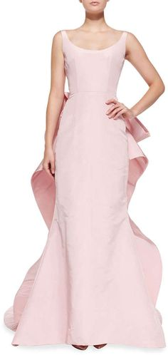 Oscar de la Renta Sleeveless Oversize Bow-Back Gown