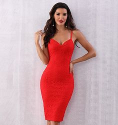 Calabasas Queen Red Lace Sleeveless Spaghetti Strap V Neck Bodycon Bandage Midi Dress - Sold Out Plus Size Party Dresses, Club Dresses, Sexy Dresses, Bandage Dresses, Midi Dresses, Ball Dresses, Evening Dresses, Fashion Dresses, Bodycon Outfits