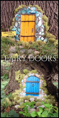 Fairy doors!   Made from clay, popsicle sticks, decorative mosaic tiles, a little paint and moss.  Fairy door