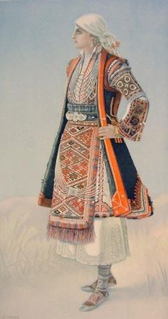 NICOLAS SPERLING Peasant Woman's Dress (Macedonia, Antartiko) 1930 lithograph on paper after original watercolour Greek Traditional Dress, Traditional Outfits, Ancient Greek Costumes, Greek History, Greek Culture, Costume Collection, Greek Clothing, Folk Costume, Historical Clothing