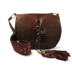 Joey Wölffer Classic Bag - Brown Patent Python Embossed / Rajasthan Strap