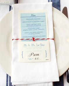 Book-Themed Place-Card Menu