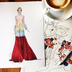 Hang out with my friend!! @maisonvalentino dress sketched by me  And rabbit  sketched by my friend @greycattt !! So cute ^^ #sketch #sketching #drawing #draw #valentino #ss2017 #fashion #fashionsketching #fashionsketch #fashiondrawing #fashiondraw #fashionillustrator #fashionillustration #fashionart #art #artwork #instaart #illustration #illustrator