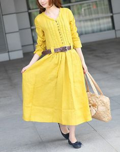 Yellow Linen Dress Custom Order  / Long sleeve by camelliatune, $73.00