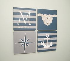 Any Color Set of 4 Nautical Canvas Art Initial by SnowFlowerArts, $159.00