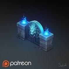 Isometric Lions Gate, Sephiroth Art on ArtStation at https://www.artstation.com/artwork/lr19O