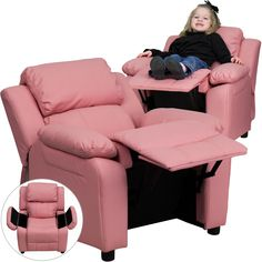 Flash Furniture Deluxe Padded Contemporary Pink Vinyl Kids Recliner with Storage Arms [BT-7985-KID-PINK-GG]