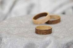Wood veneer rings - materials are veneer and superglue; tools needed are craft knife and sandpaper