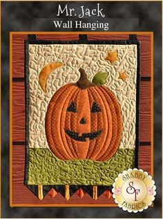 """Mr Jack Wall Hanging pattern: This Shabby Fabrics original design features Jack the happy jack-o-lantern. This 12 1/2' x 20 1/2"""" wall hanging pattern features simple appliqué and fancy prairie points making this a half day project!"""