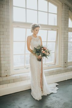 Dress Gown Bride Bridal Silk Lace Straps Halterneck Industrial Into The Wild Greenery Wedding Ideas http://www.ivoryfayre.com/