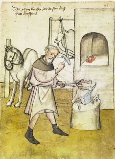 Illustration of a Blacksmith, Fritz Hufschmied - From the House Books of the Nuremberg Twelve Brothers Foundation, records of a charitable foundation started in the city of Nuremberg in 1388. The foundation would take 12 poor and needy people and provide them with training in a trade. Starting around 1425 their books would contain one-page illustration of the people they had helped, usually giving their name and what profession they were in. - Nuremburg, Germany - c. 1425-1450