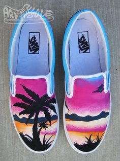 Apr 2020 - Sunset Dreams - Custom Hand Painted Vans Shoes – chadcantcolor Painted Canvas Shoes, Painted Vans, Painted Sneakers, Hand Painted Shoes, Vans Slip On Shoes, Custom Vans Shoes, Custom Sneakers, Van Shoes, Women's Shoes